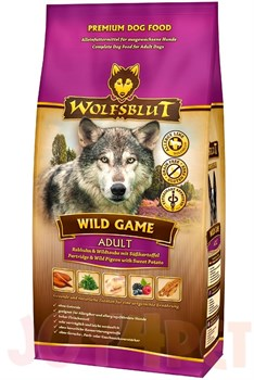 Wolfsblut Wild Game ADULT Дикая игра Сухой корм для взрослых собак с куропаткой, диким голубем, страусом и бататом. Белок: 26%, Жир: 16%. - фото 11990